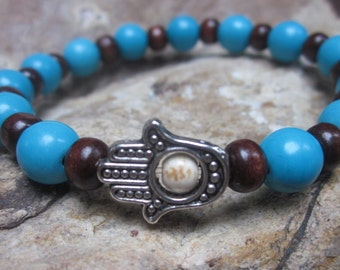 brown wood beads turquoise blue stone silver hamsa hand protection stretch bracelet bohemian bracelet mens bracelet women's bracelet yoga