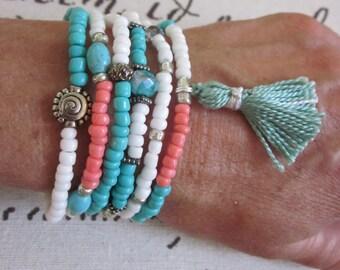 beaded stretch bracelets Colorful beaded tassel bracelets  seed bead bracelets Set of 6 turquoise silver white coral salmon yoga bracelets