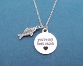 Fish, you're my best catch, Necklace, Valentine, Necklace, Youre my be catch, Catch, Lover, Heart, Birthday, Gift, Accessories, Jewelry
