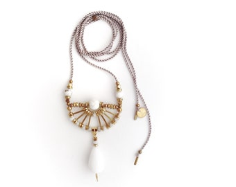 Camille Necklace  | Handmade White Gemstone Pendant Necklace | Brass and Silk Statement Necklace | Artisanal Geometric Jewelry | Bridal