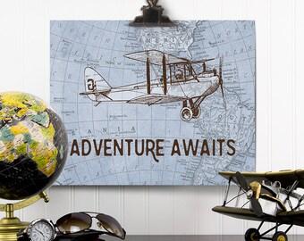 Adventure Awaits Blueprint, Vintage Airplane Decor, Adventure Awaits Map Wall Decor, Vintage Map Art, Gift for Pilots, Travel Theme