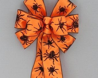 Orange Black Flocked Spiders Halloween Bow