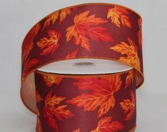 10 yards Vibrant Fall Leaves Satin Wire Edge Ribbon - Ribbon for Wreaths, Fall Wreath Ribbon, Fall Ribbon