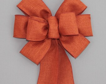 Burnt Orange Fall Wreath Bow - Rustic Fall Bow, Fall Decorations, Thanksgiving Decorations