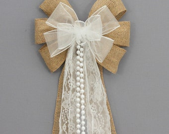 Burlap Lace Pearls White Rustic Wedding Bow - available in 21 colors