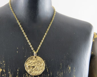 Lion necklace, ancient looking coin with a lion head, gold filled chain, August birthday, leo necklace, leo zodiac necklace, lion amulet