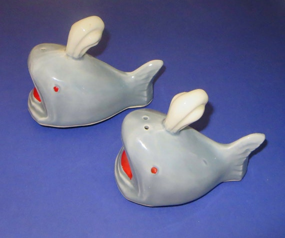 Vintage Whale Salt Pepper Shakers Mid Century By Baublology
