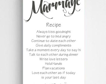 "Personalized Marriage Recipe Canvas Sign  -  Personalized Couples Canvas Sign - 14"" x 24"" - CA0126 WHITE"