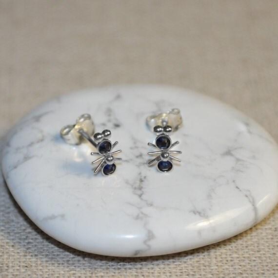 Sapphire Stud Earrings - 2mm Sapphire Post Earings - Silver Stud Earrings - Cartilage Earring Stud - Helix Earring - Conch Jewelry
