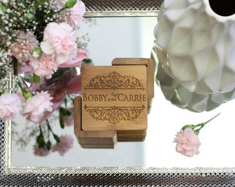 Personalized Coaster Set, Square Wood Coaster Set, Engraved Coasters, Couples Names Coaster Set - Set of 6 --22020-CST2-001