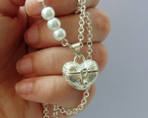 Heart Wish Box Necklace - Silver Plated, Store Your Own Wishes