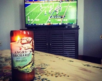 Repurposed Angry Orchard Hard Cider Bottle Natural Soy Candle