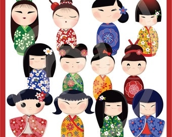 Kokeshi Dolls ClipArt Collection - Instant Download