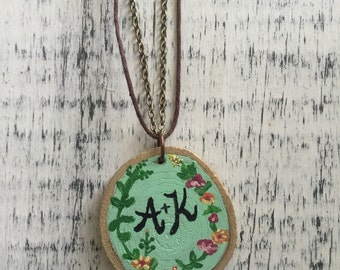 Hand Painted Custom Wood Slice Necklace - Reversible Necklace - Natural Wood Necklace - Painted Wood Jewelry