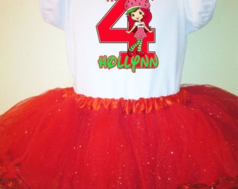 Strawberry Shortcake Dress Red 1T,2T,3T,4T,5T,6T,7T,8,9,10 Birthday Tutu  Name & number.