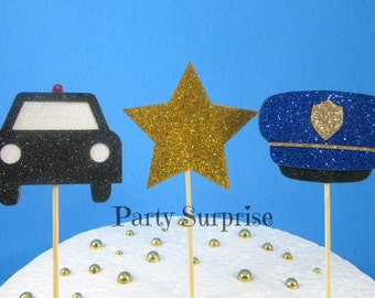 Police Cupcake Toppers 911 Rescue Emergency Vehicles Police Hat Police Car Glitter Cupcake Toppers