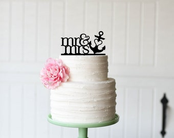 Mr & Mrs with Heart Anchor Wedding Cake Topper - Nautical Beach Cake Topper
