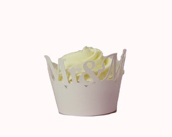 White Mr-&-Mrs Cupcake Wrappers, Set of 12