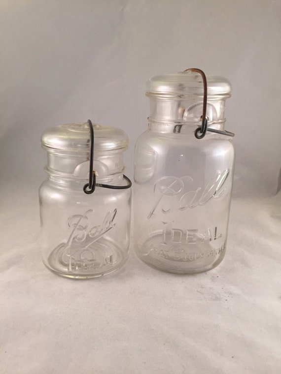 vintage ball ideal mason jars with glass lids and wire clamps. Black Bedroom Furniture Sets. Home Design Ideas