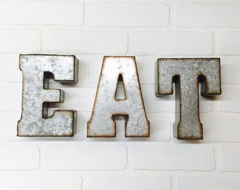 EAT sign/Metal Letters/Wall Decor/Eat/Kitchen Wall/Rustic Letter/Galvanized Letter/Letters/Industrial/Cafe/Eat Signage
