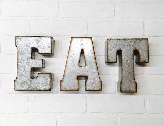 Eat sign metal letters wall decor eat kitchen wall rustic for Kitchen letters decoration