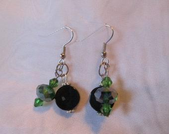 Green Swarovski and Black Dangle Earrings
