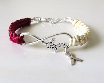 Head and Neck Cancer HOPE Awareness Bracelet Oral Salivary Gland Pharynx Larynx Neck Nasal Cancer Optional Hand Stamped  Letter Charm