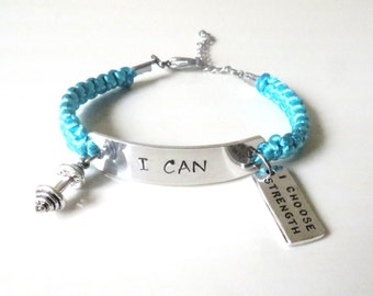 I CAN Weightlifting Barbell I Choose Strength Charm Bracelet Fitness You Choose Your Cord Color
