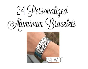 "Set Of 24 Customized Hand Stamped Bracelet Aluminum Skinny Cuff Personalized Gift Choose Phrase Bridesmaid Message Wedding Bulk- 1/4"" Wide"