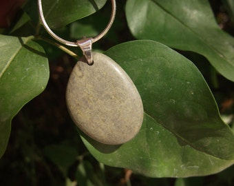 Green Pebble Pendant Beach Stone Necklace Pbble Crete Beach Rock Drilled Necklace Handmade Sterling Silver Natural Stone