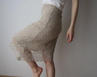 Beige Grey Asymmetrical Skirt Midi Skirt Fishnet Skirt Festival Skirt Small Size Dancing Skirt