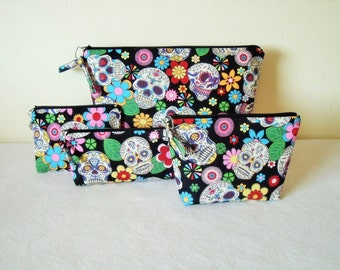 BEST SELLER! Sugar Skulls Pouch Set - Toiletries wash bag, Makeup cosmetic, Coin purse, Pencil Case Black Multi Sugar Skulls Cotton zip pull