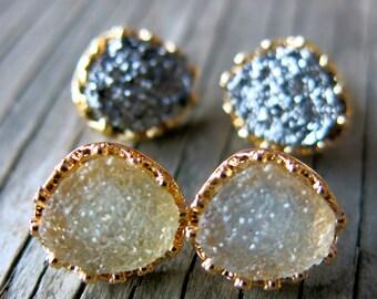 SALE-Druzy Earrings, Druzy Studs, Boho Earrings, Bohemian Earrings, Mother's Day Jewelry