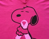 Plus Size 2X Snoopy Pink Ribbon Ladies T-Shirt - Charcoal, Black or Hot Pink