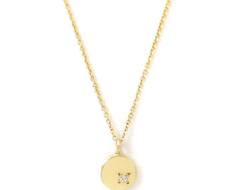 Ostara Necklace - 14kt Gold Pendant with white diamond - solid gold circle necklace