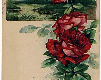 Vtg Trade Card Beatitudes Red Roses the Lord Pitieth Them that Fear Him
