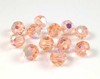 5000 LIGHT PEACH AB 4mm 72pcs Swarovski Crystal Faceted Round Beads