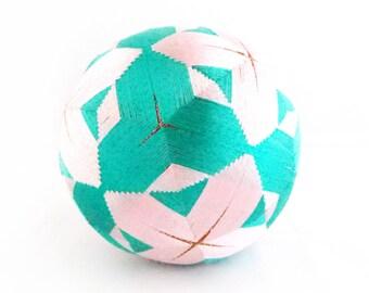 VINTAGE Beautiful  Temari Ball , Embroidering Thread Ball , Japanese Art Ball , Modern Geometric Design , Pink Gold & Green , Hand Crafted