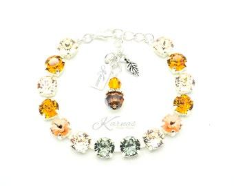 AUTUMN'S ARRIVAL 8mm Crystal Chaton Bracelet Swarovski Elements *Pick Your Finish *Karnas Design Studio *Free Shipping*