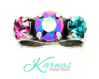 SCARABAEUS MIX 8mm/29ss Crystal Chaton Ring Made With Swarovski Elements *Adjustable Pick Your Finish *Karnas Design Studio *Free Shipping*