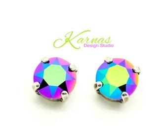 CRYSTAL SCARABAEUS GREEN 8mm Crystal Chaton Stud Earrings Swarovski Elements *Pick Your Finish *Karnas Design Studio *Free Shipping