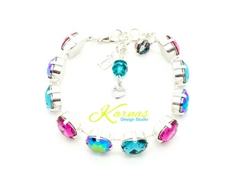 SCARABAEUS MIX 12mm Cushion Cut Bracelet Swarovski Elements *Pick Your Finish *Karnas Design Studio *Free Shipping*