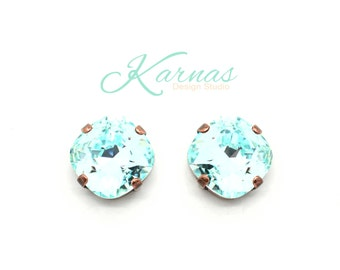 LIGHT AZORE 12mm Crystal Cushion Cut Stud Earrings Made With Swarovski Elements *Pick Your Finish *Karnas Design Studio *Free Shipping*