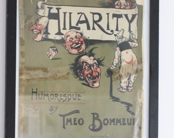 SALE Hilarity Humoresque 1904 Poster Piano Music by Theo Bonmeue