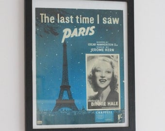 SALE British The Last Time I saw Paris Poster Piano Music Binne Hale