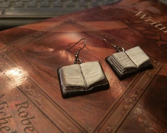 Polymer clay dangle book earrings statment earrings customizable with initals or short message handmade jewelry literature  geeky gift