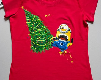 Hand painted Gift for Women Kids and Men Tshirt: Minion