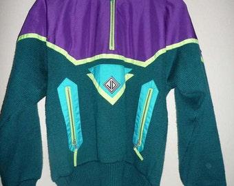 JD Sun Valley Multi Color Neon Zipper Ski Sweater Sz XS Vintage