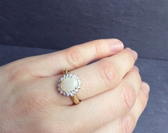 Large Opal Engagement Ring in White or Yellow Gold