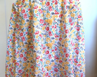 70s Pink and Yellow Floral Button Front Skirt- Size XS/S